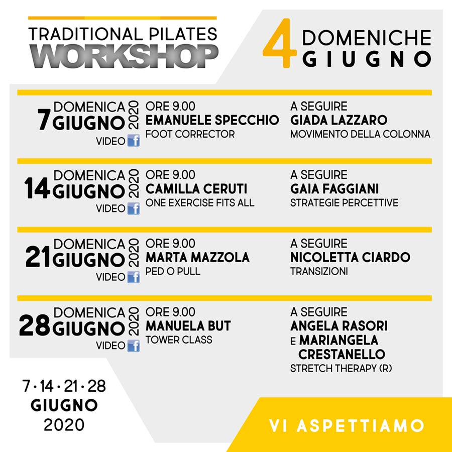TRADITIONAL PILATES WORKSHOP - Le domeniche di giugno 2020